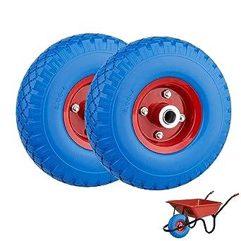 2X PU Cilindro de rueda de carretilla (260 mm Cochecitos de neumáticos goma rueda de