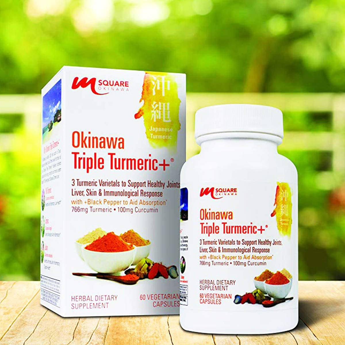 Okinawa Triple Turmeric 3 Turmeric Varietals with Black Pepper to Aid Absorption. 120 Vegetarian Capsules. 2 Bottles