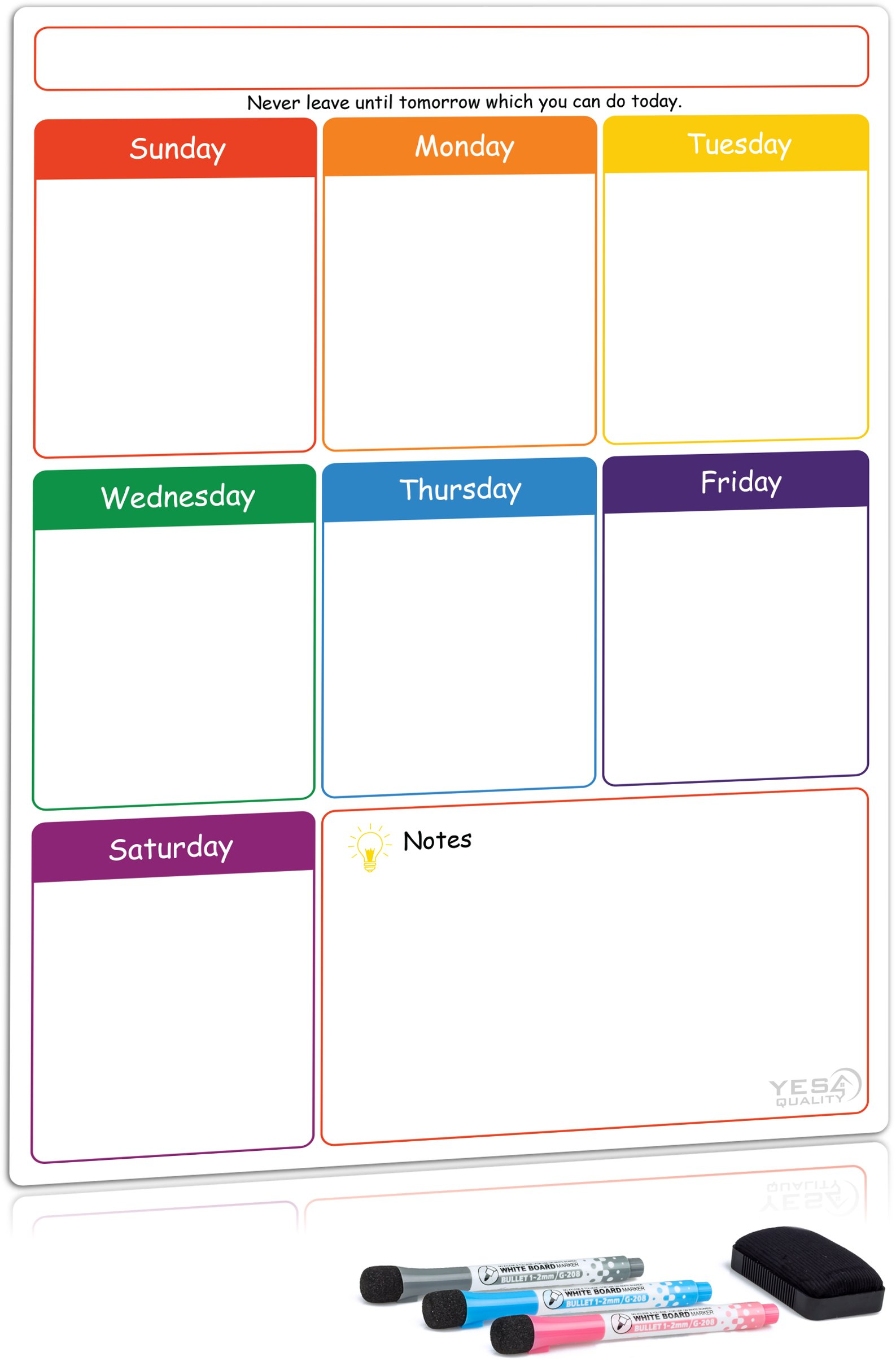 Magnetic Dry Erase Weekly Planner Board for Refrigerator by Yes4Quality | Weekly Whiteboard Calendar w/Stain Resistant Technology | for Family, Home, Office, Fridge Use | 3 Markers & Eraser Included