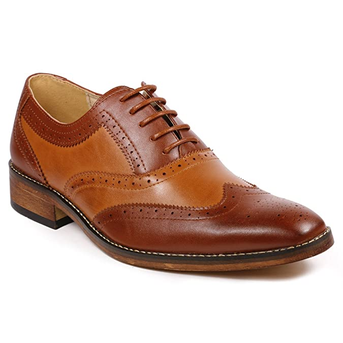 Retro Clothing for Men | Vintage Men's Fashion Metrocharm MC118 Mens Two Tone Perforated Wing Tip Lace Up Oxford Dress Shoes £47.49 AT vintagedancer.com