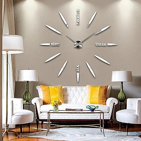 DIY Reloj de Pared 3D, GEEDIAR Bricolaje 3D Grande espejo Reloj pared adhesivo con Números