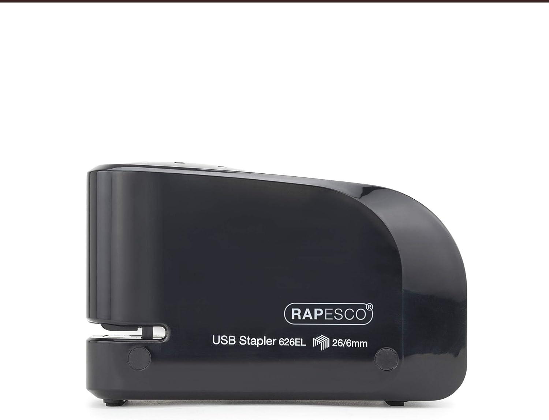 Black Rapesco 1454 626EL Automatic Electric Stapler USB//Battery