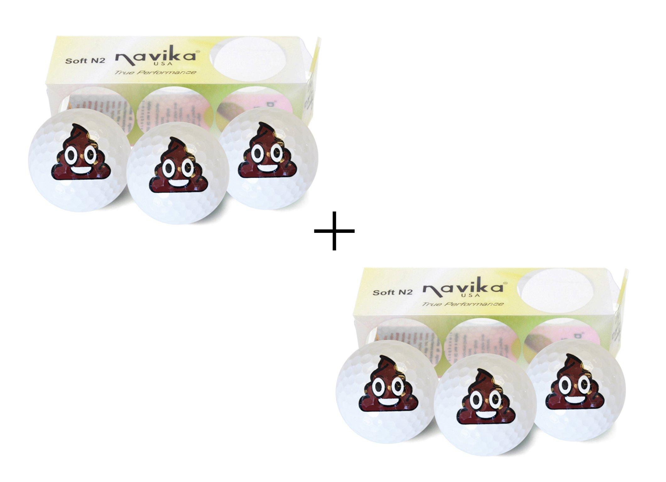Golf Balls- White with Oh Shit! Imprint (2 PACK) - Poop Emoji