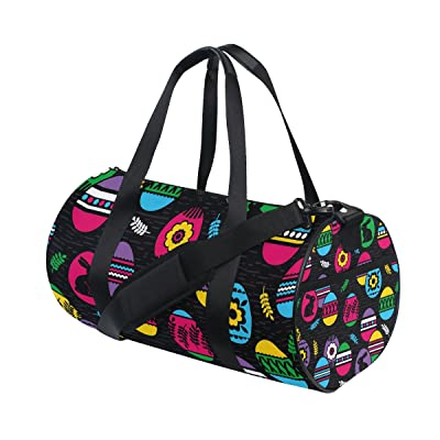Gym Bag Easter Colorful Egg Rabbit Sports Travel Duffel Lightweight Canvas Bags