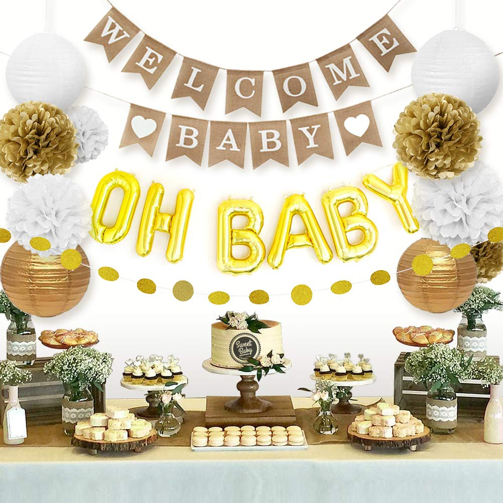 Sweet Baby Co Baby Shower Decorations Neutral For Boy Or Girl With Welcome Baby Banner Oh Baby Balloon Lanterns Flower Pom Poms Circle Glitter