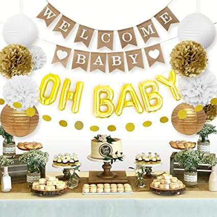 Sweet Baby Co. Baby Shower Decorations Neutral For Boy or Girl With Welcome  Baby Banner, Oh Baby Foil Balloon, Paper Lanterns, Tissue Paper Pom Poms,  ...