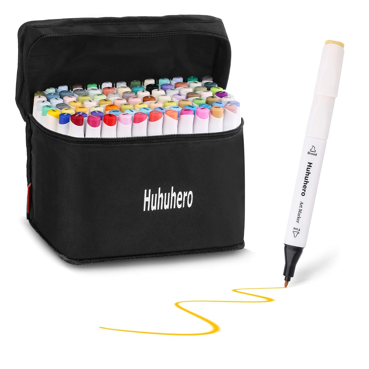 88 Colors Marker Pens Set, Dual Tips Permanent Marker Pens Highlighters with Carrying Case Perfect for Drawing Sketching Adult Coloring Highlighting and Underlining Huhuhero