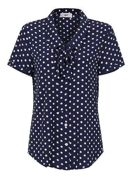 f12c4fced20c5 Choies Women Royal Blue Vintage Bow Tie Front Polka Dot Print Short Sleeve Shirt  Tops S