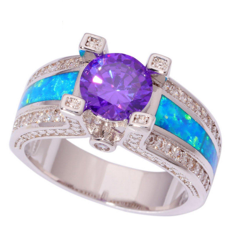 Gemmart Created Blue Opal Purple Zircon Women engagement rings