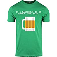 ShirtBANC Its Dangerous to Go Alone! Take This Beer Mens 8 Bit Video Game Shirt