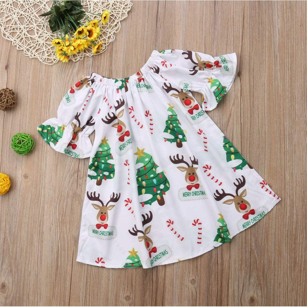 Toddler Baby Girl Christmas Dress Kids Short Sleeve Xmas Tree Deer Print Skirts Outfits Clothes