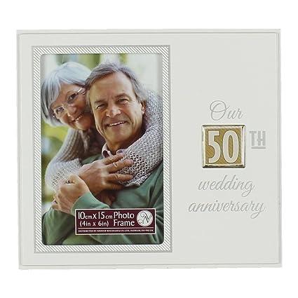 Amazon.com - Faonline Shiny Squares 20Cm Photo Frame 50Th Wedding ...