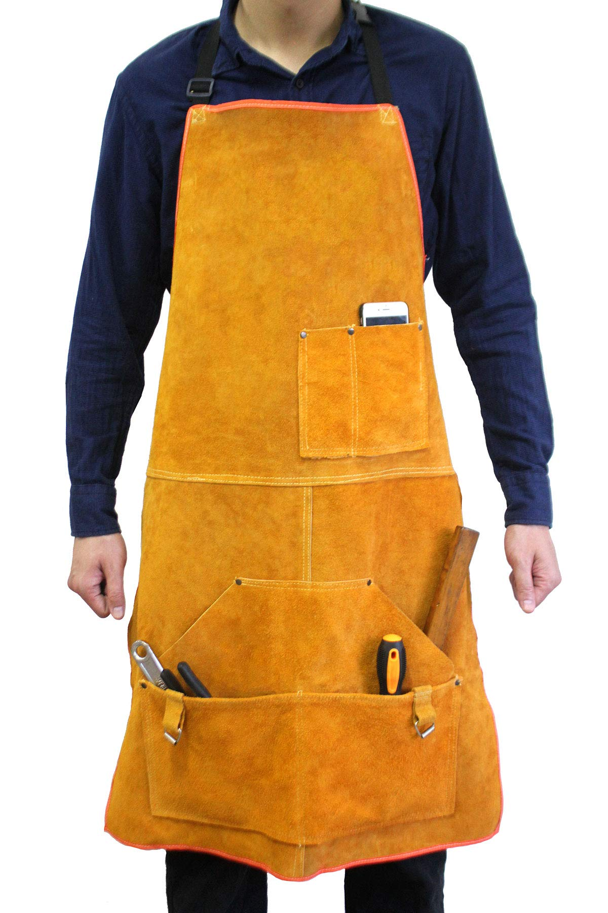 Leather Welding Apron Flame-Resistant Heat Resistant Work Apron Fire Resistant Welding/Welder Smock, 24 x 36 Inch, 6 Pockets by Handook (Image #1)