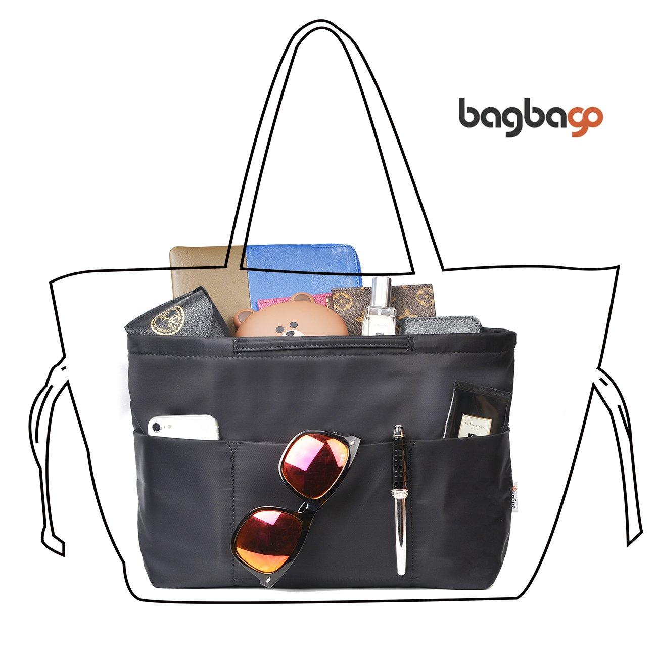 BES CHAN Bag in Bag Handbag Wallet Purse Insert Organizer Luxury Package Anti-Theft Bag Women fit Neverful L, Black