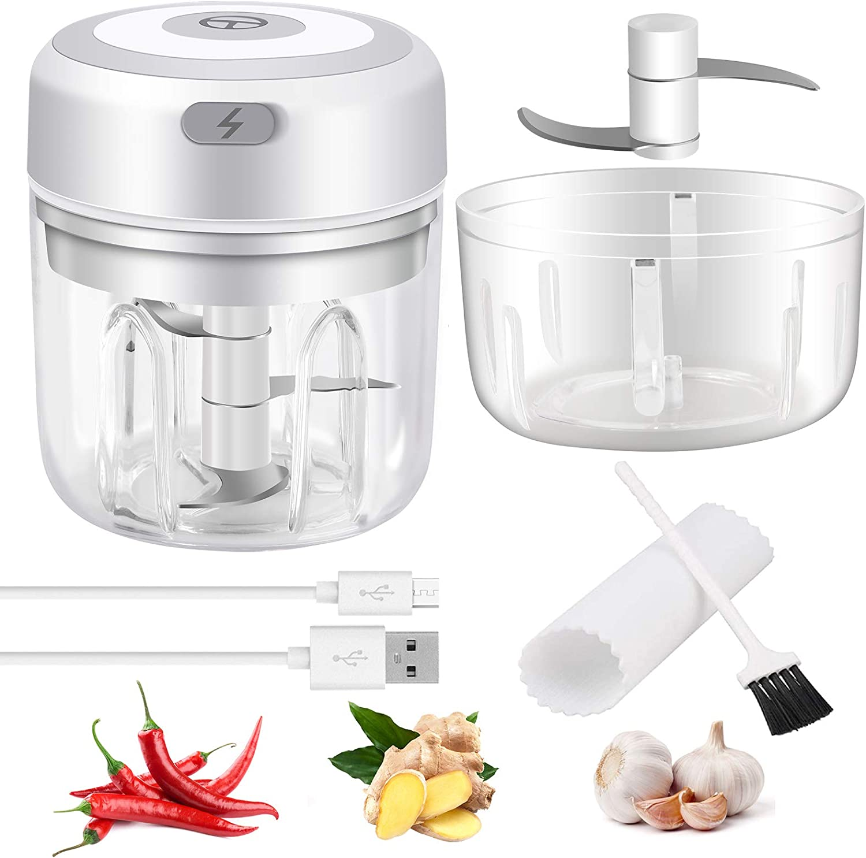 Electric Mini Garlic Chopper - Handheld Wireless Mincer Portable Electric Mini Kitchen Gadgets - Food Chopper Blender for Chili Onion Vegetables Fruits
