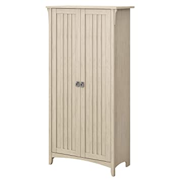 Bush Furniture Salinas Kitchen Pantry Cabinet with Doors in Antique White