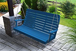 product image for Furniture Barn USA Outdoor 5 Foot Winston Porch Swing with Chain - Blue Poly Lumber - Recycled Plastic