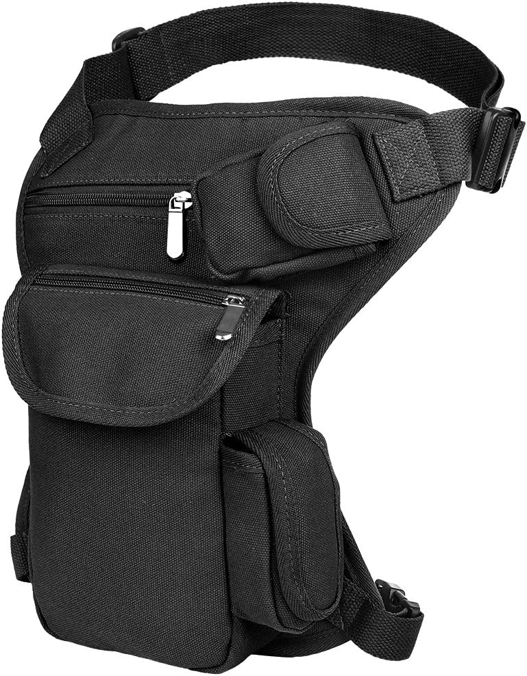 Image of a black leg bag, two front zippers seen
