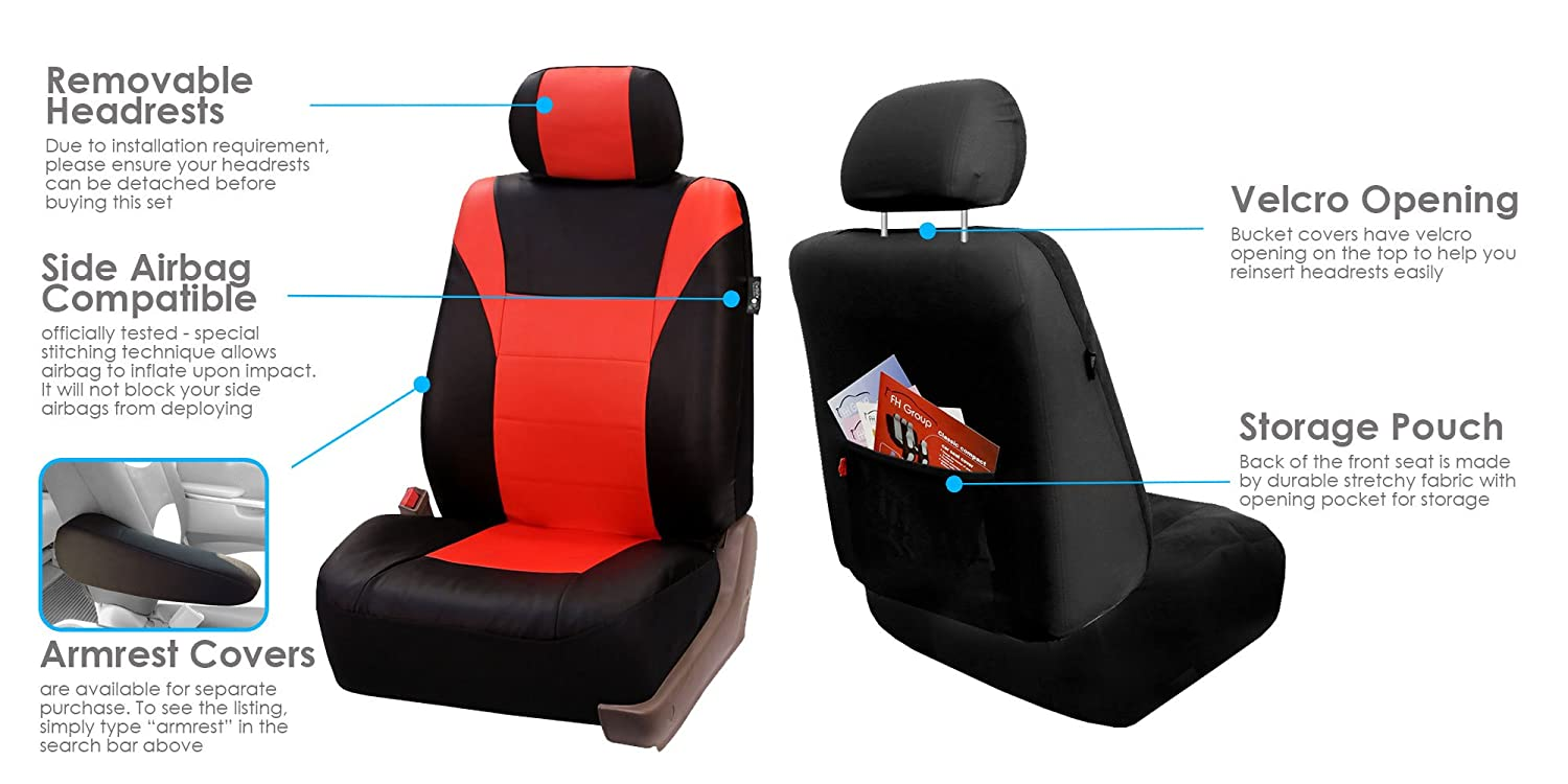 Amazon FH Group PU003TANGERINE115 Red Racing Style Faux Leather Seat Cover Full Set Airbag Compatible And Split Bench Automotive