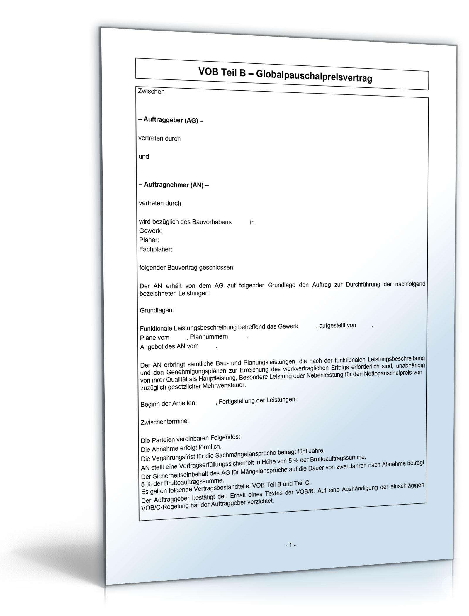 Vobb Bauvertrag Globalpauschalpreisvertrag Word Dokument