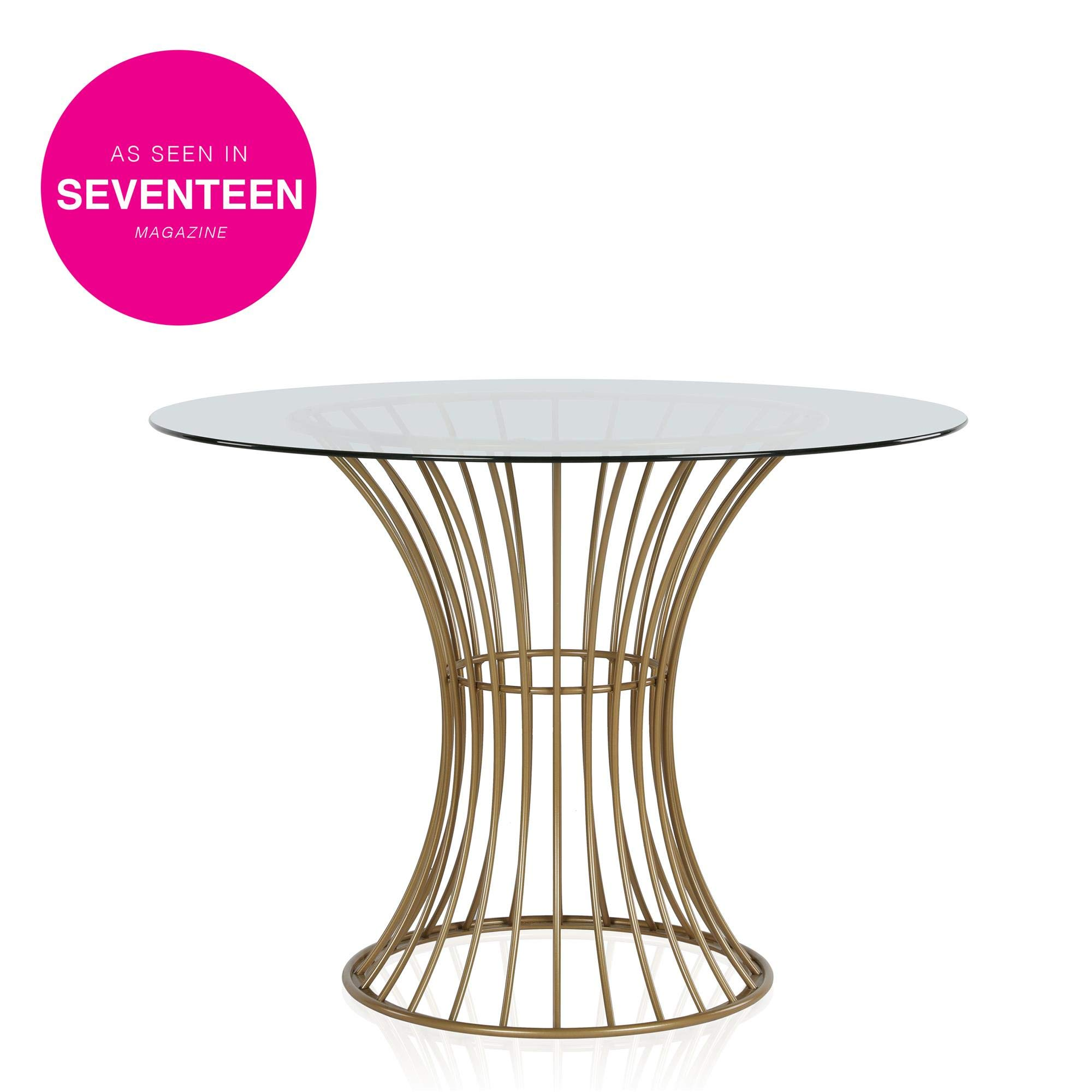 CosmoLiving Westwood Modern Clear Tempered Glass Round Top Dining Table with Hourglass Gold Base - Brass by CosmoLiving by Cosmopolitan (Image #4)
