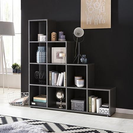 Estante de madera de la escalera LUCIO 10 compartimentos gris que se coloca 139x145x29cm estanterías | Diseñar un separador de ambientes para las carpetas y libros | Estante grande escaleras: Amazon.es: Hogar