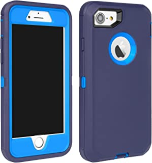 MAXCURY iPhone 7 Defender Case, iPhone 8 Case, Heavy Duty Shockproof Series Case for iPhone 7/8 (4.7') with Built-in Screen Protector (Teal/Lt Blue)