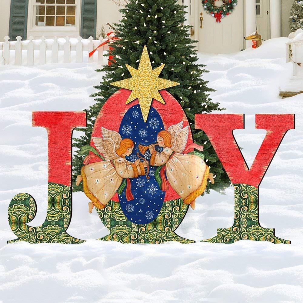 Amazoncom Christmas Joy Angels Rustic Yard Lawn Sign Holiday