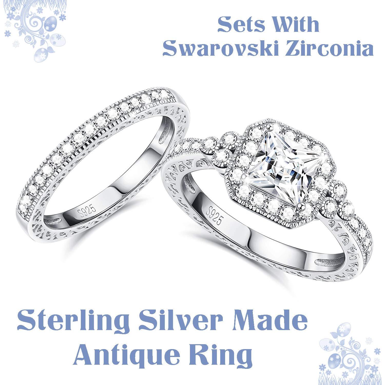 fe12c7cec Amazon.com: Sllaiss Sets with Swarovski Zirconia Sterling Silver Antique  Ring for Women Princess-Cut CZ Wedding Band Set Size 4-9: Jewelry