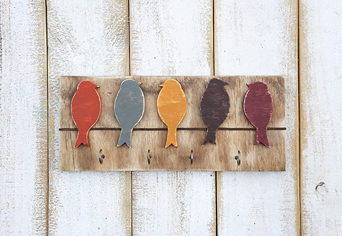 Key hook rack wall art birds on a wire wood art wood