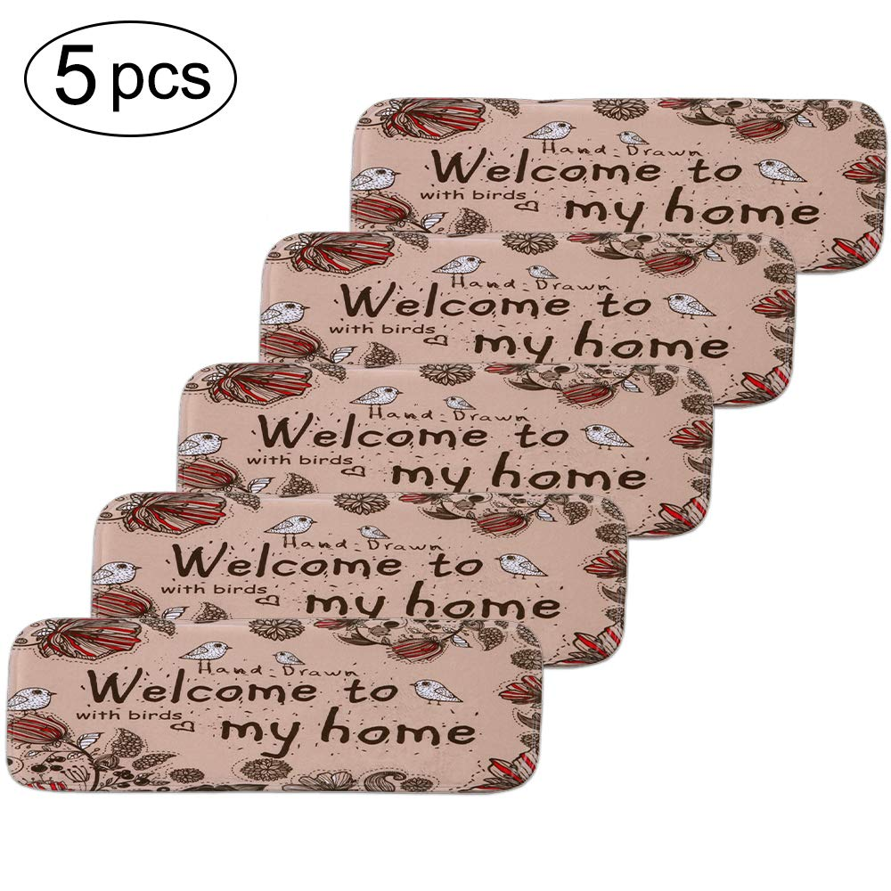 Stair Mats Outdoor Front Door Carpet 27.56'x 8.66' Latex Backing Non Slip Door Mat for Front Door Inside Floor Dirt Trapper Mats Cotton Entrance Rug Shoes Scraper Machine Washable Carpet (Rose)