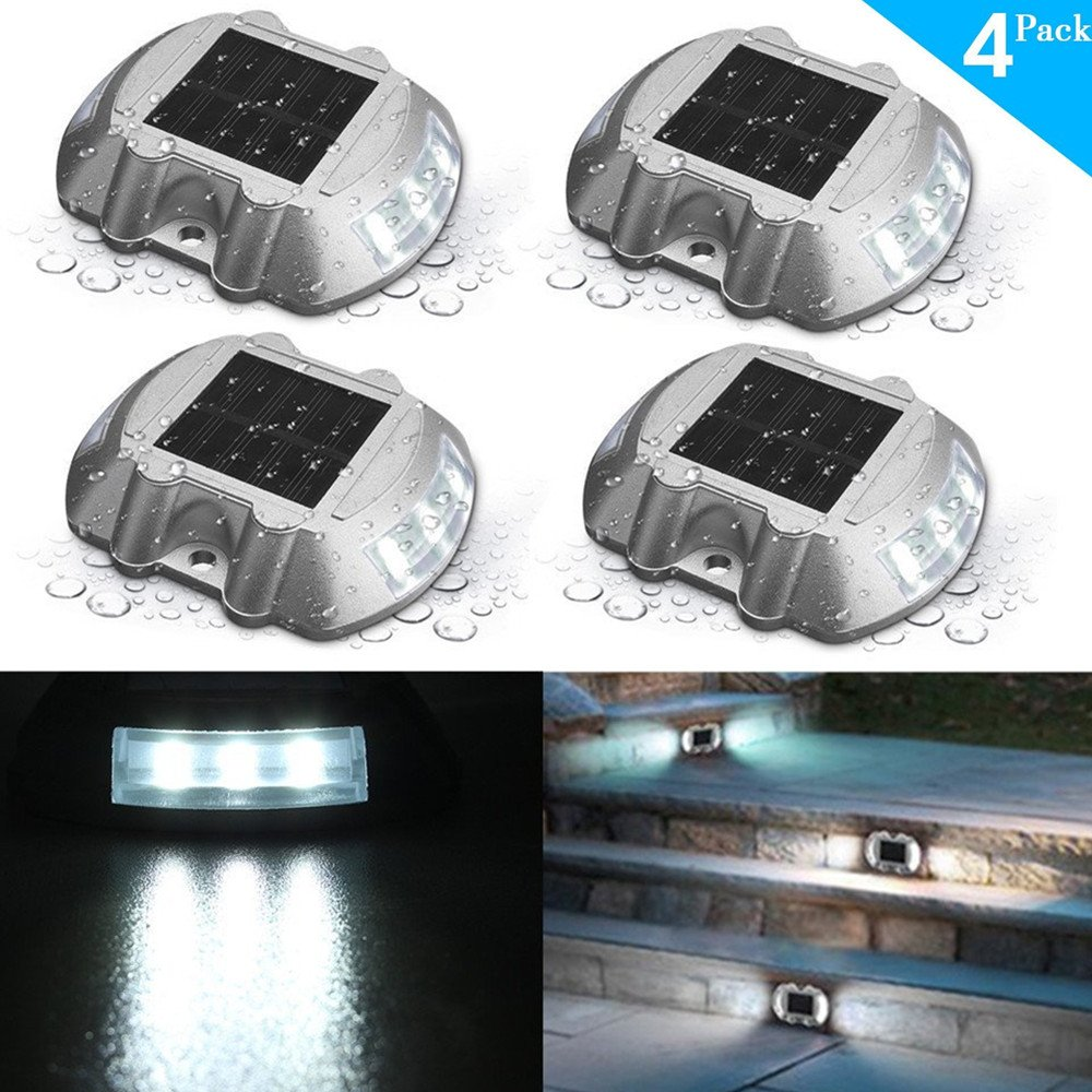 SOLMORE 4 Pack Solar Deck Lights LED Dock Light Solar Lights Step Road Path Light Waterproof Security Warning Driveway Lights Outdoor Fence Patio Yard Home Pathway Stairs Garden (White)