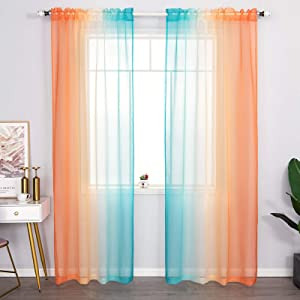 AmHoo 2 Panels Ombre Semi Sheer Curtains for Girls Bedroom Unicorn Gradient Voile Draperies Window Treatment for Kids Room Decor Rod Pocket Orange and Turquoise 52 x 63 Inch