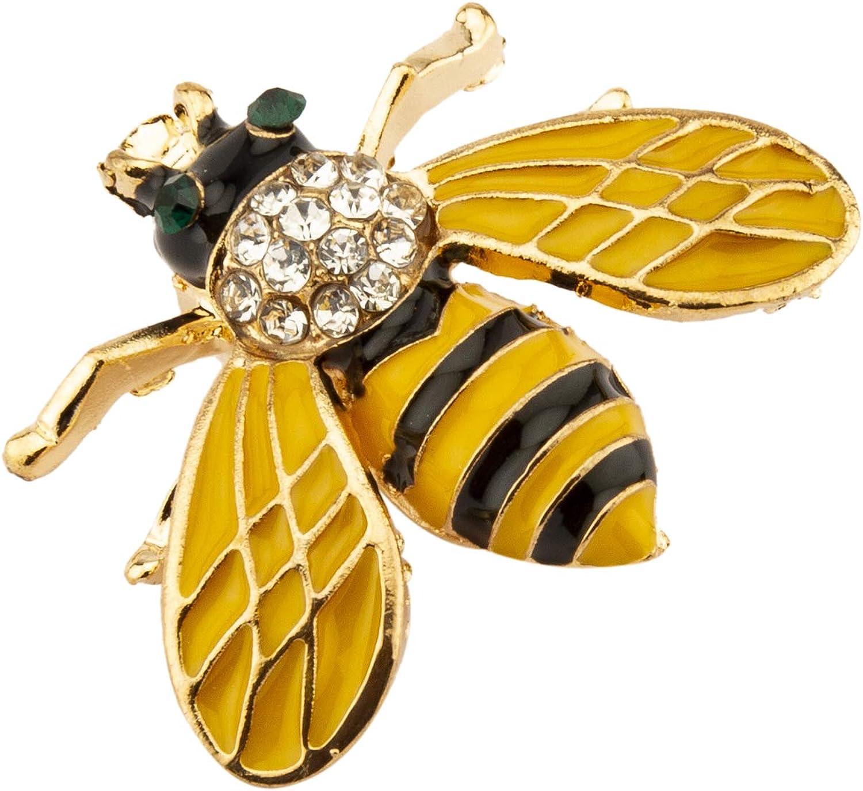 Gold-tone Alloy Crystals HONEY BEE BROOCH PIN Black Yellow Enamel
