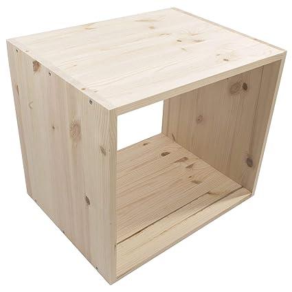 1 Tier Wooden Bookcase Shelving Display Storage Unit Unpainted Plain Pine Natural Solid Wood Freestanding Cube Cabinet Organiser Bookshelf Rack