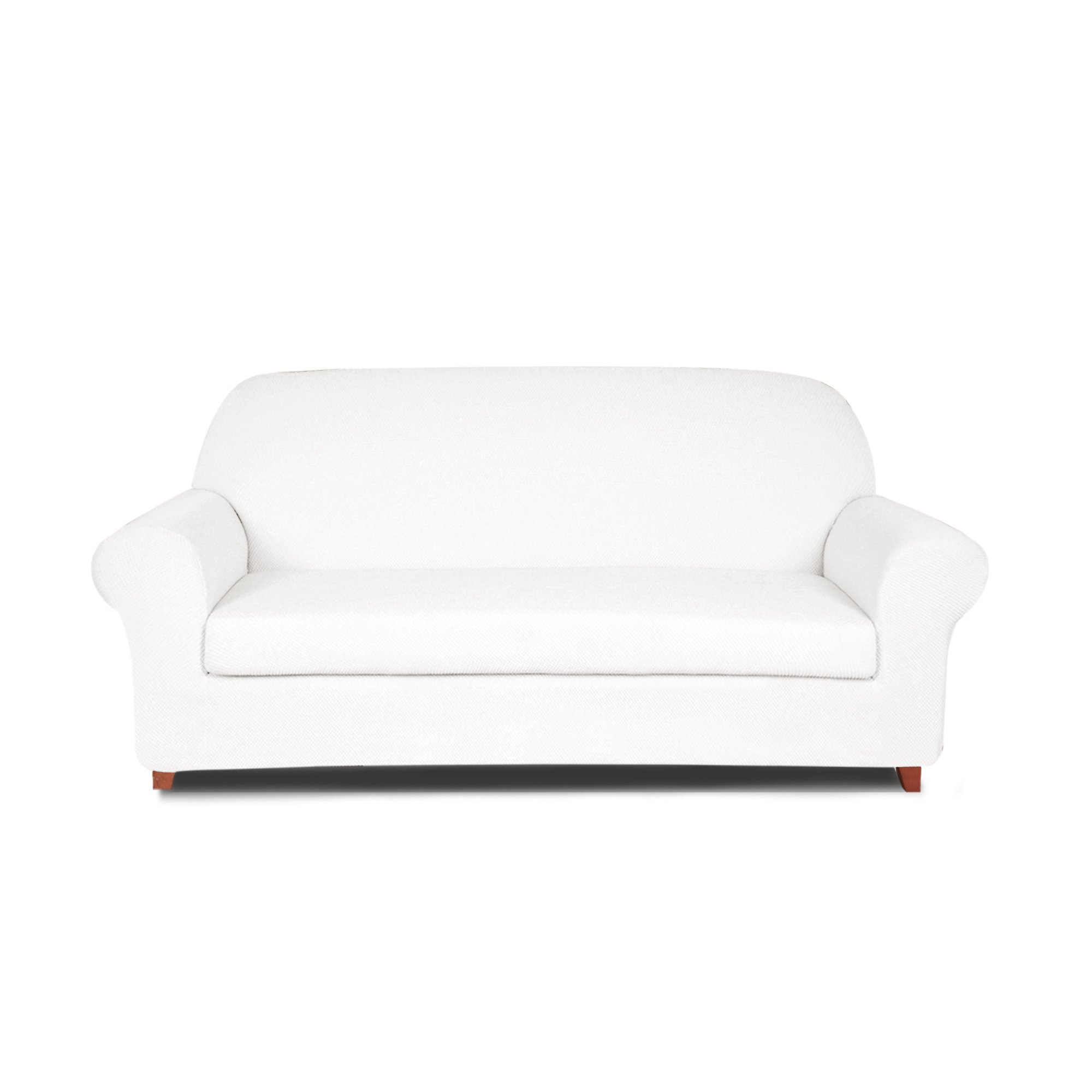 DyFun 2-Piece Jacquard Spandex Stretch Living Room Sofa Slipcovers (Loveseat, White)