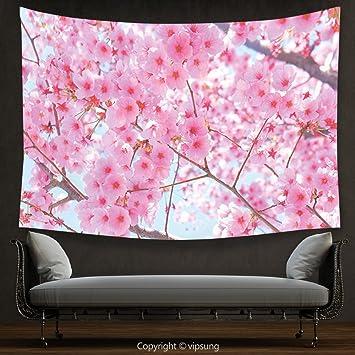Amazon.com: House Decor Tapestry Floral Japanese Sakura Florets ...