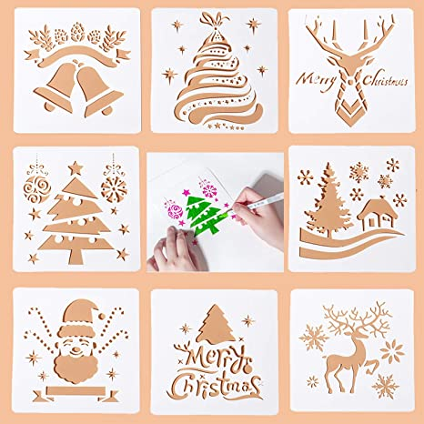 Santa /& Christmas Holiday Reusable Stencils Adhesive Stencils with Reindeer