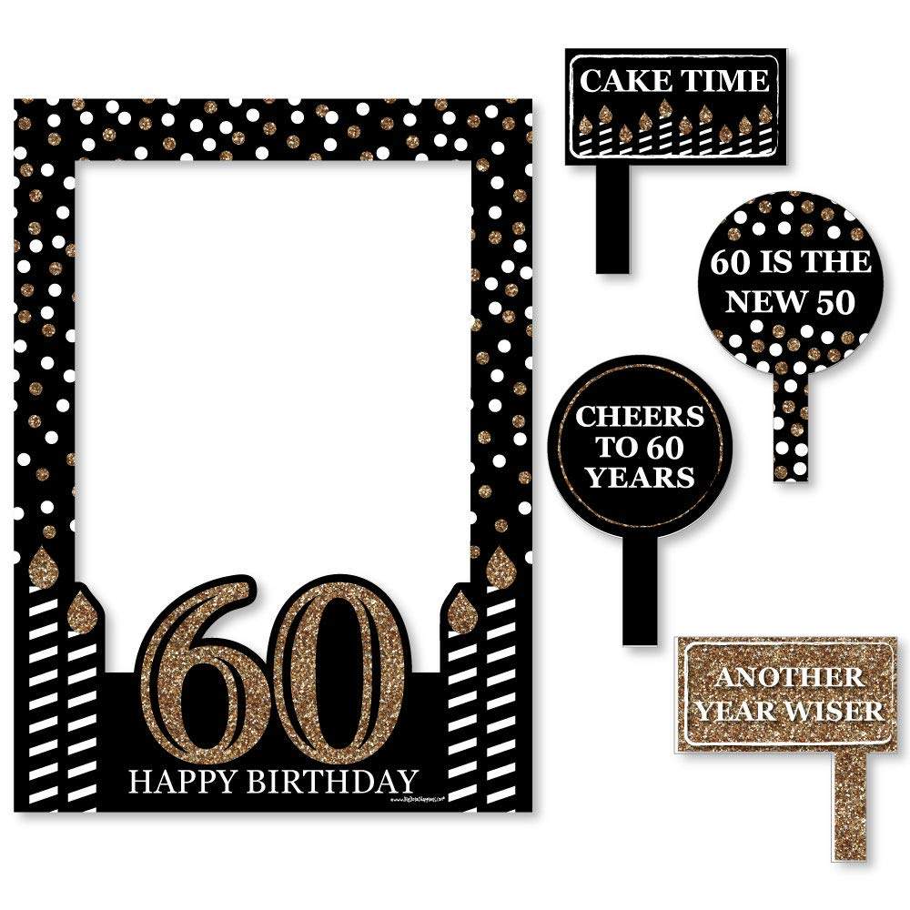 Big Dot of Happiness Adult 60th Birthday - Gold - Birthday Party Selfie Photo Booth Picture Frame & Props - Printed on Sturdy Material