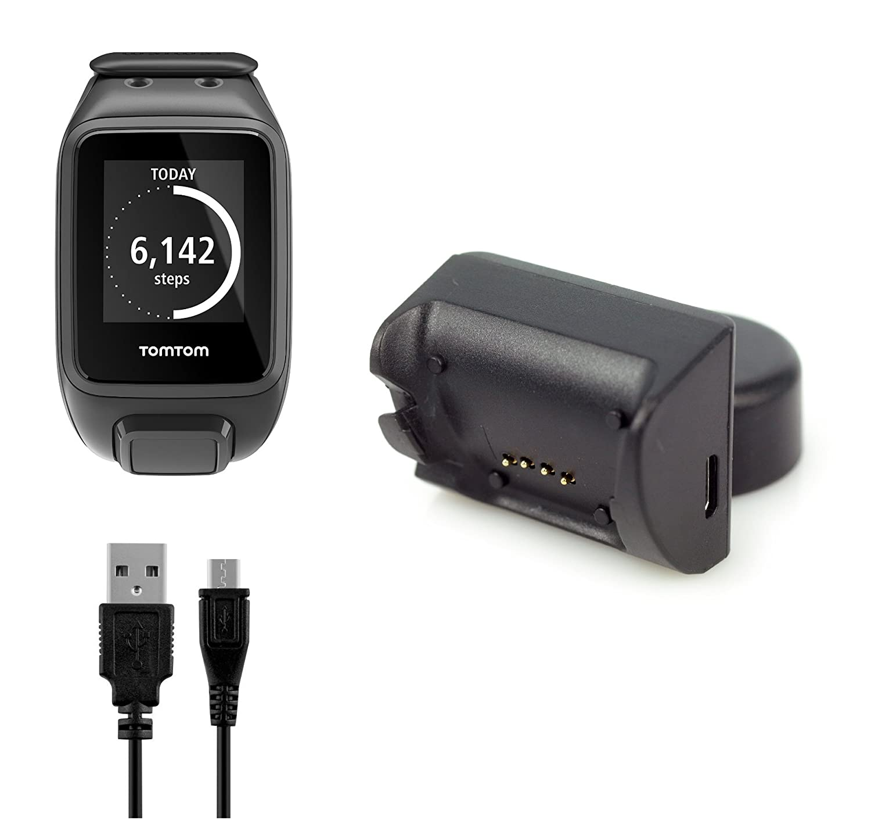 BlueBeach® Reemplazo TomTom Adventurer / Golfer 2 / Runner 2 / Runner 3 / Spark / Spark 3 USB Carga Cable Cargador Dock con Sincronización de datos