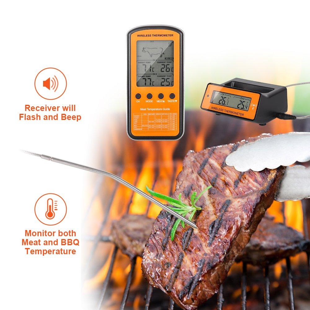 Term/ómetro de cocina,digital inal/ámbrico para barbacoa carne BBQ term/ómetro con sonda dual term/ómetro de alimentos remoto y alerta para el hogar cocina horno parrilla interior y exterior
