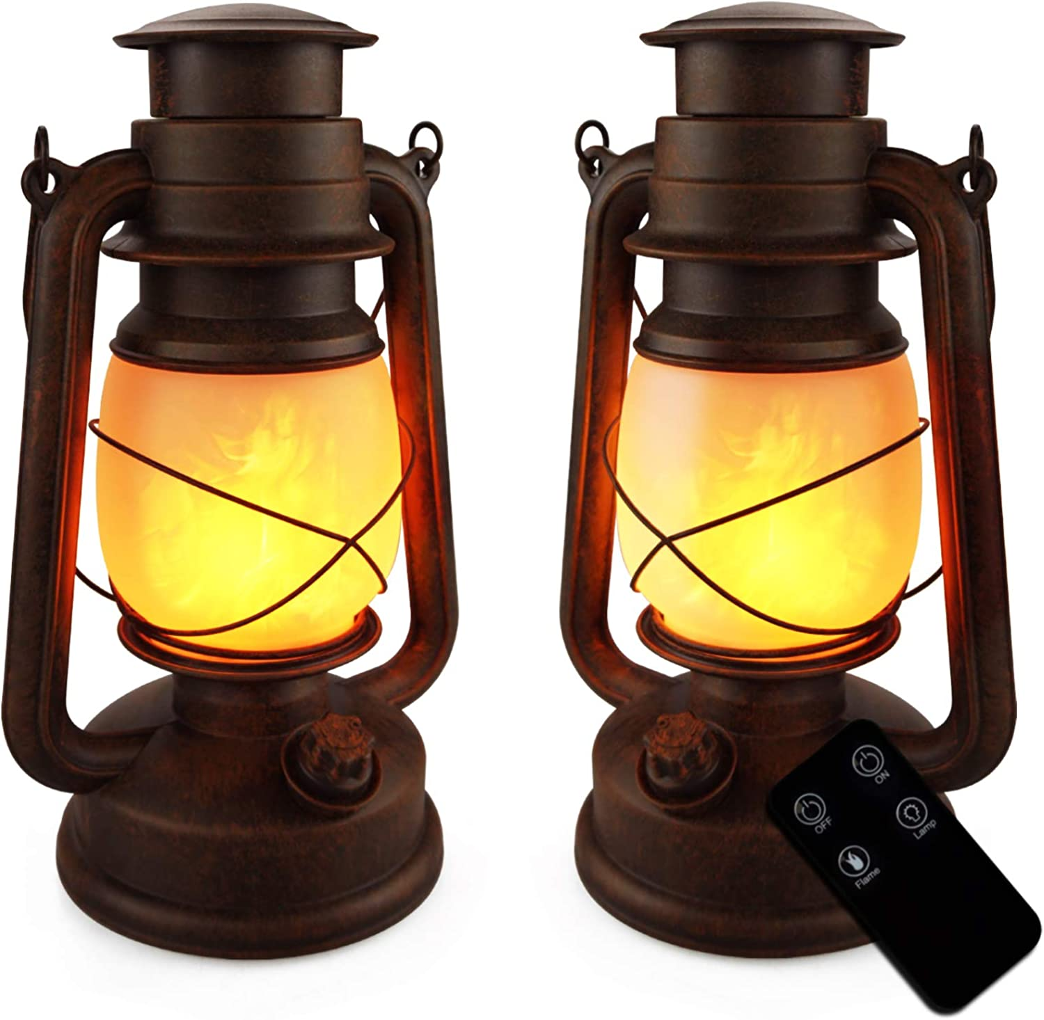 LED Vintage Lantern Battery Operated Flickering Flame Outdoor Hanging Lantern with Remote and Two Modes for Camping and Home Decor, 2 Pack