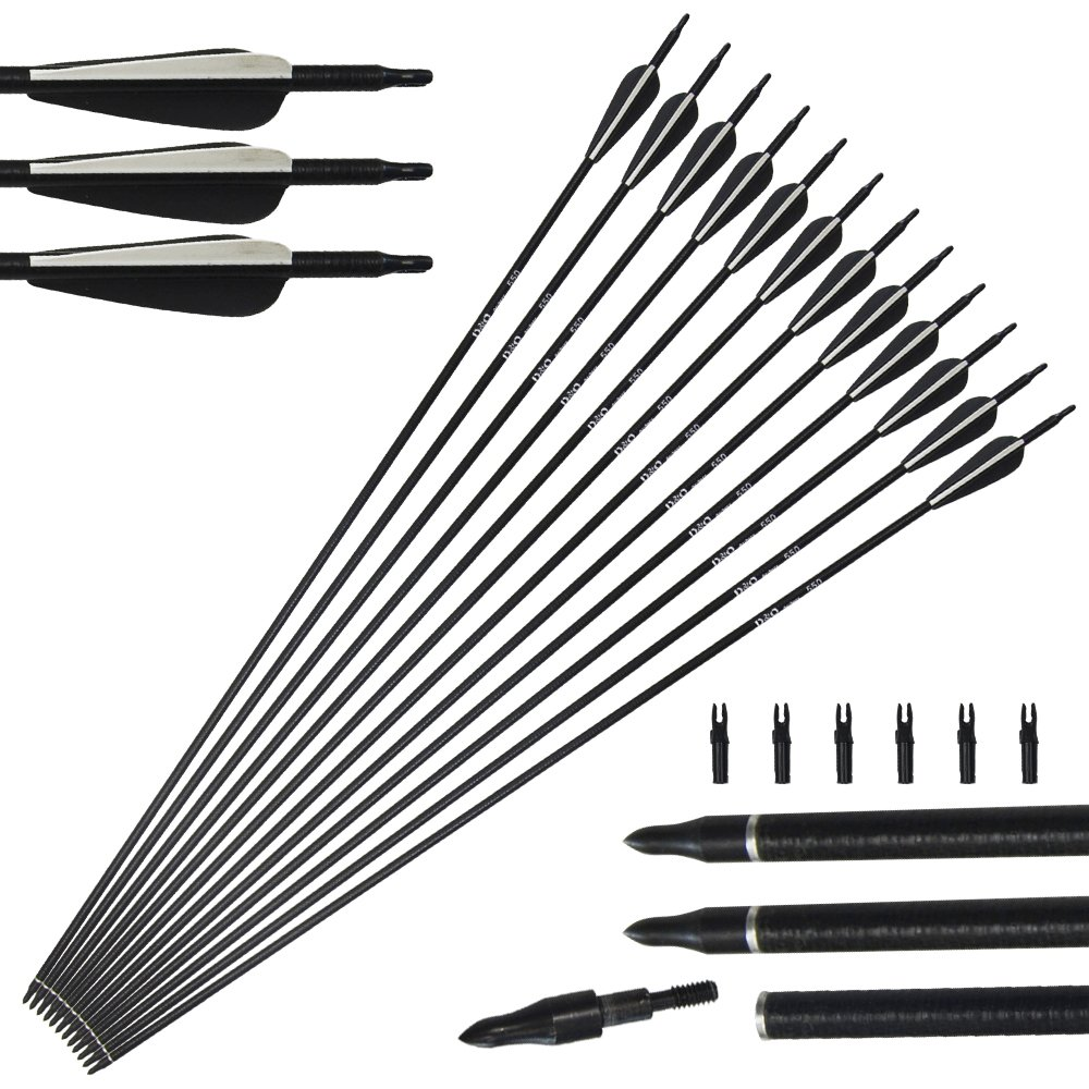 12pack 31inch Archery Fiberglass Arrows Spine 450 with Replacement Screw-In Broadheads for Compound and Recurve Bow 20-55lbs Tongtu Outdoor