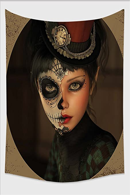 Nalahome-Sugar Skull Decor Antique Portrait Girl with Calavera Inspired Makeup and Topper Realistic Multicolor