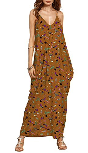 Women's Boho Floral Print Dress MEROKEETY V Neck Spaghetti Strap Casual Summer Beach Long Maxi