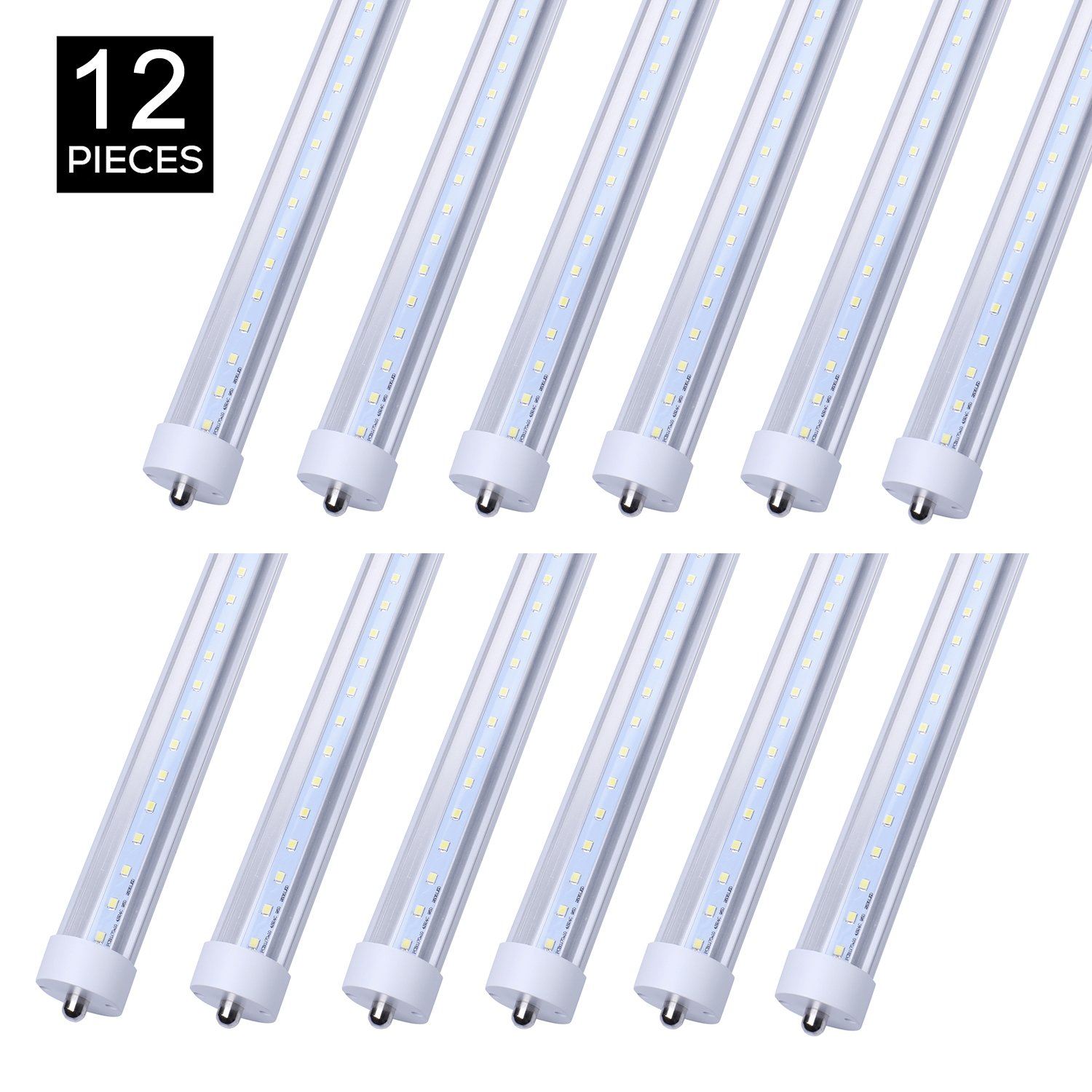 Jomitop T8 LED lamp Tube Light 8ft 45W Replacement 100 Watt Fluorescent Tube Lamp 5000K Daylight White Double-Ended Power Clear Cover Pack of 12