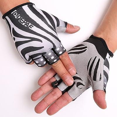 TOFERN Unisexe Gants 4 motifs demi-doigts Fibre Tissu antiglissant sport cyclisme vélo résistant
