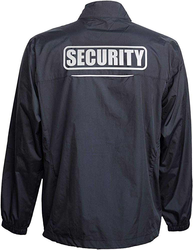 Reflective Design Smart People Clothing Security Jacket Professional Black Windbreaker Security Guard