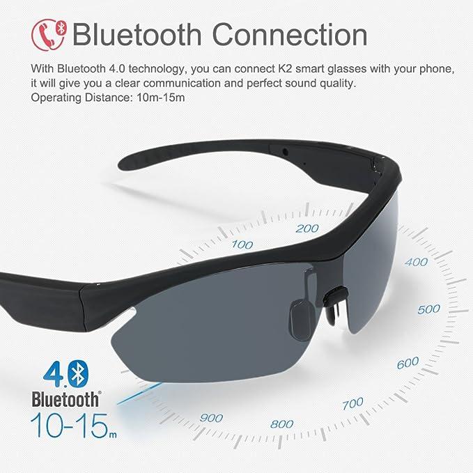 icase4u K2 Inalámbrico Auriculares Música Bluetooth Gafas de Sol Polarizadas Manos Libres Estéreo Smart Touch Voice Control Handfree Mic para iPhone Samsung ...