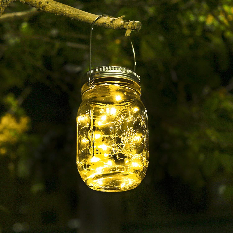 KerKoor Solar Mason Jar Licht, Jar Fee Licht, Wasserdichte Glasgläser Garten Hängeleuchten,LED String Licht für Party, Hochzeitsdekoration, Außen Laterne, Hof,Wand, Tisch, Baum